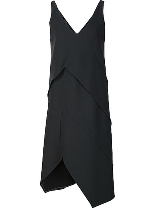 narciso rodriguez n/s wool double crepe layered dress
