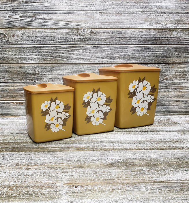 Vintage Kitchen Canisters 1970s Mustard Gold White Flowers Nesting Canister Set Flower Power Square Canisters Lids Vintage Kitchen By Agogovintage From A Gogo Vintage Of Havre De Grace Md Attic