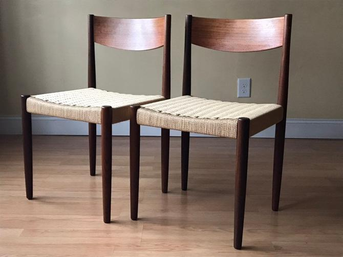 Two Poul Volther for Frem Rojle Teak/Afrormosia Dining Chairs, New Danish Paper Cord, newly woven. by ASISisNOTgoodENOUGH