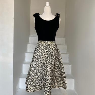 Eye Ball Print 1950s Unusual Full Skirt Velvet Bodice Party Dress 36 Bust Vintage by AmalgamatedShop