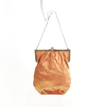 1930s Orange Satin Purse - 1930s Orange Satin Evening Bag - Vintage Orange Satin Purse - 30s Satin Purse - 1930s Orange Handbag - 1930s Bag by VeraciousVintageCo
