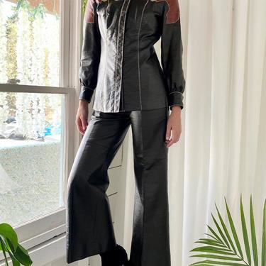 70s Embroidered Faux Leather Pant Suit