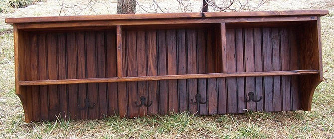 Reclaimed Pine Coat Rack Cubby Shelf with Bead Board Back by BarnWoodFurniture