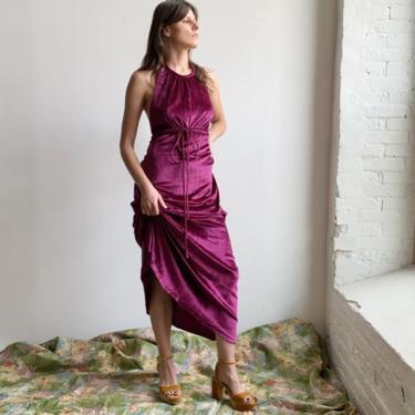 1970s Purple Velvet Halter Gown by milkandice