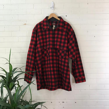 """1980s Johnson Wool Red Plaid Lightweight Hunting Jacket / Zip Up Classic Flannel Coat / Size 52 / 52"""" Chest / XXXL by AmericanDrifter"""
