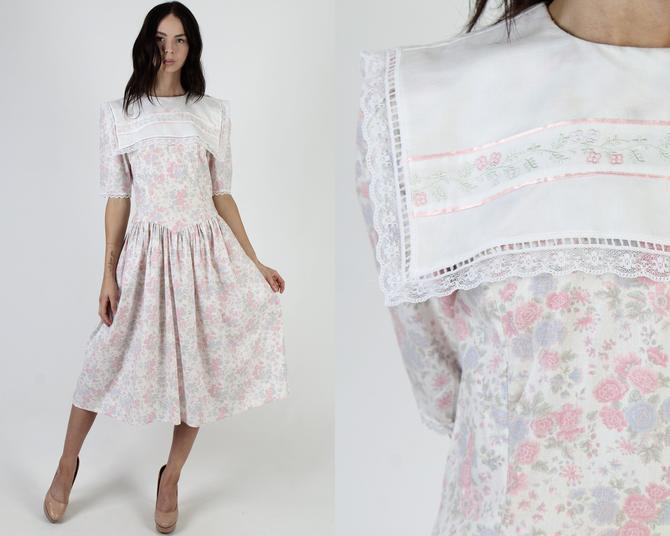 Vintage 80s Gunne Sax Tea Dress / Jessica McClintock Country Folk Dress / White Wide Embroidered Sailor Collar Midi Dress by americanarchive