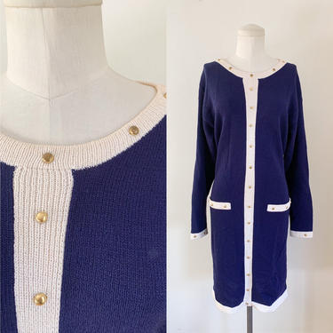 Vintage 1990s Helen Hsu Navy & White Sweater Dress / M by MsTips
