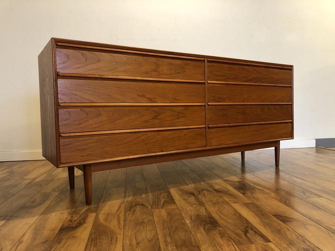 Danish Modern 8 Drawer Teak Lowboy Dresser
