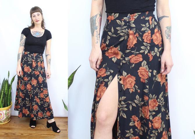 "Vintage 90's Orange Rose Midi Skirt / 1990's Rose Print Button Front Skirt / Rayon / Women's Size XL / 34"" Waist by RubyThreadsVintage"