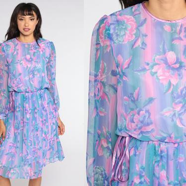 80s Floral Dress Watercolor Sheer Sleeve Secretary Dress Purple Pink Long Puff Sleeve Midi Vintage Boho High Waisted Bohemian Small S by ShopExile
