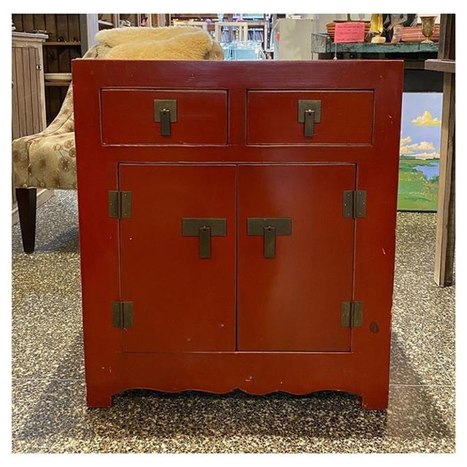 """Red painted Asian Cabinet 27.5"""" wide / 18"""" deep / 32"""" height"""