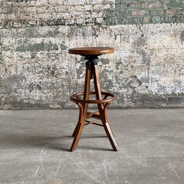 Antique Adjustable Oak Johnson Chair Co Operators Stool by NorthGroveAntiques