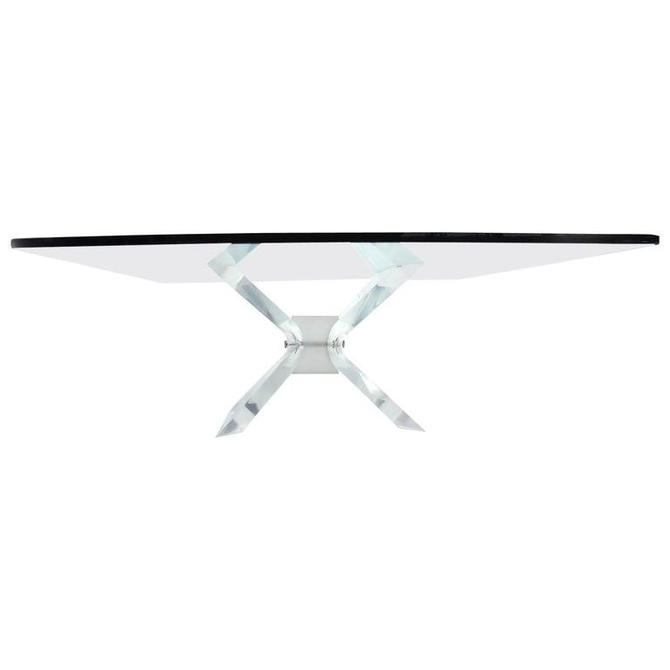 Leon Frost Lucite and Glass Coffee Table by AMBIANIC