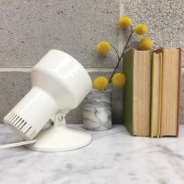 Vintage Spotlight Retro 1990s Contemporary + White Metal + Table Lamp + Accent or Mood Lighting + Adjustable Shade + Home and Table Decor by RetrospectVintage215