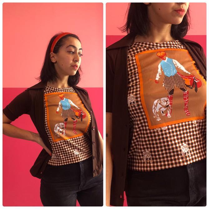 Medium 70s novelty golf bulldog plaid shirt cardigan by LostGirlsVtg