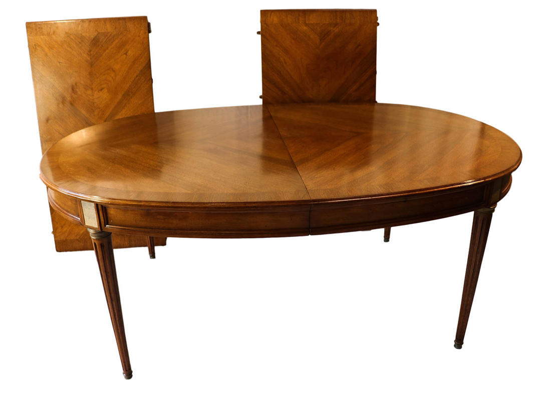 French directoire style oval walnut extending dining room for B q dining room furniture