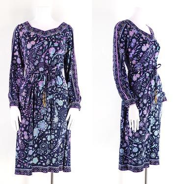 70s Emilio Pucci silk jersey signed print dress sz L / 1970s vintage Pucci floral print navy & lavender dress w/ belt 12 by ritualvintage