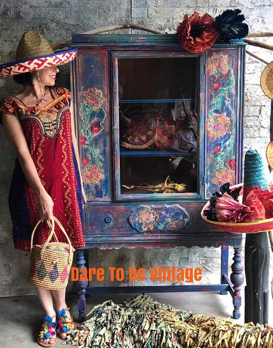 Vintage Bohemian Hand Painted Armoire China Cabinet - Hand Painted Armoire - Vintage Server Hutch - Mexican Bohemain Cabinet - Boho Style by DareToBeVintage