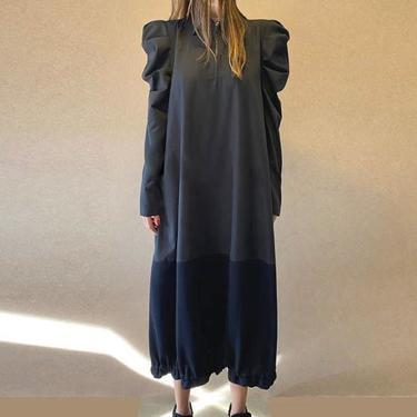 Bold Shoulder Paneled Long Sleeve Bubble Dress