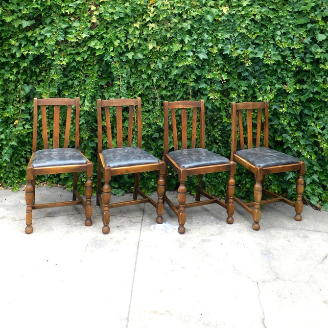 Craftsman Mission Arts & Crafts Leather DIning Chairs (set of 4)