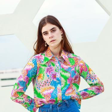 60s Floral Bright Novelty Print Blouse Vintage Long Sleeve Mod Colorful Top by AppleBranchesVintage
