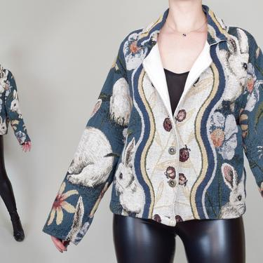 White Rabbit Tapestry Coat | 90's Tapestry Jacket by WisdomVintage