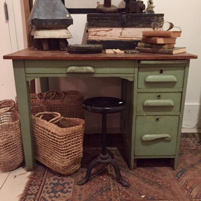 "Vintage Green Desk, 42"" w x 27"" d x 30"" t, $295."