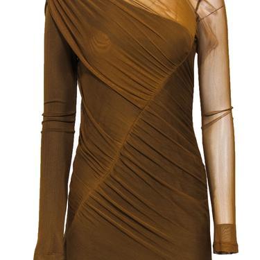 Rag & Bone - Mustard Asymmetric Mesh Bodycon Dress Sz 4