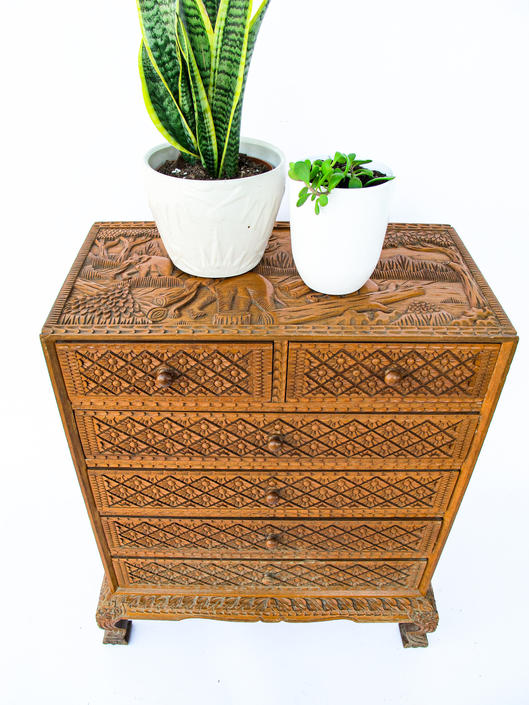 Bakersfield-Stunning Asian Hand Carved Solid Wood Cabinet with Elephant Motif and Starburst Design on Drawers and Sides by PortlandRevibe