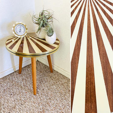 Formica Side Table, Mid Century Accent Table, Vintage Plant Table, Side End Table, German Vintage Table, Ray of Sun, Space Age Table by dadacat