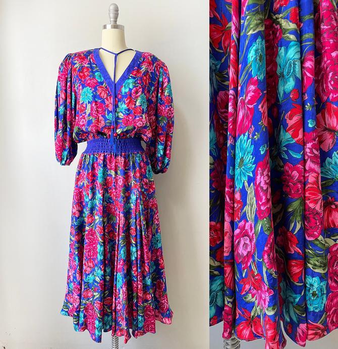 1980s DIANE FRES Dress Silk Peasant S by dejavintageboutique