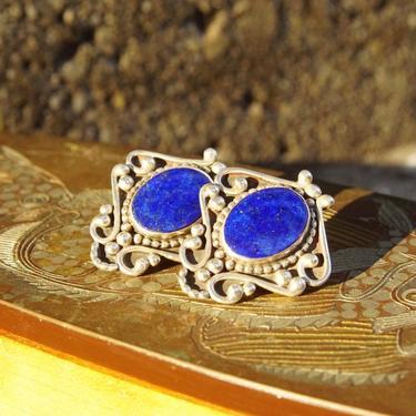 Vintage Signed Sterling Silver Lapis Lazuli Earrings, Silver Shield Earrings, Blue Gemstone, Ornate Silver Stud Earrings, Statement Piece by shopGoodsVintage