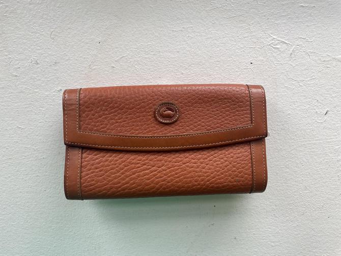 Vintage Dooney and Bourke British Tan and Brown Checkbook Organizer Wallet by BlackcurrantPreserve
