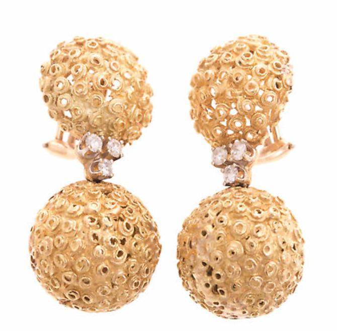 14 K Yellow Gold diamond drop dangle earrings by LazyCamel