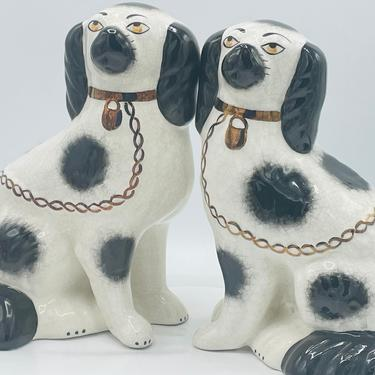 """Pair of Black & White Antique Staffordshire Ware King Charles Spaniel Dog Figurine - Mantel Dog 9"""" by JoAnntiques"""