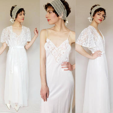 Vintage Olga Style Bridal Peignoir Nightgown Robe White Nylon Lace / 80s 90s Vandemere Long Negligee Matching Robe Flutter Sleeves / M by RareJuleVintage