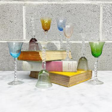 Vintage Glasses Set Retro 1960s Mid Century Modern + Aperitif + Coupe + Stemmed + Assorted Jewel Tones + Set of 8 + Home and Bar Decor by RetrospectVintage215