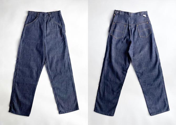1940s 50s Never Worn Blue Jeans Snap Waist by hemlockvintage