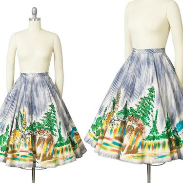 Vintage 1950s Skirt   50s Mexican Sequin Novelty Border Print Cotton Hand Painted Souvenir Tourist Skirt (x-small) by BirthdayLifeVintage