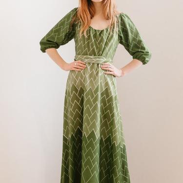 RARE 1970s geometric maxi dress Missoni Style dress Original Vintage by DevoreVintage