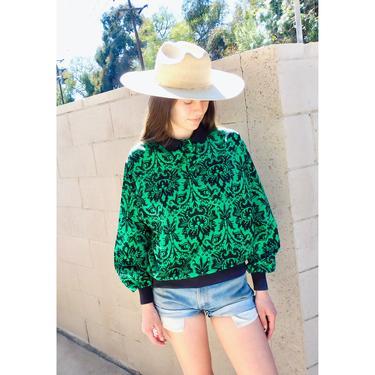 DVF Garden Variety Blouse // vintage green 1980s dress boho hippie 80s Diane Von Furstenberg // O/S by FenixVintage