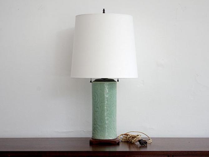 1960's Celadon ceramic lamp