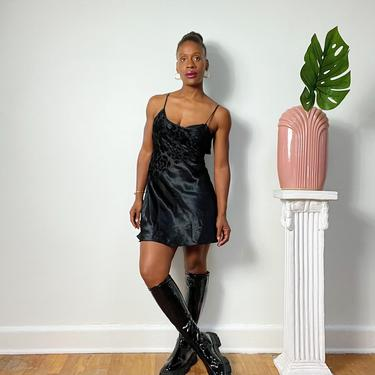 Vintage 1980s 1990s 80s  Satin Slip Dress Lingerie Sheer Floral Neckline Black Sleeveless Dress Silk Size XL Adjustable Spaghetti Strap by KeepersVintage