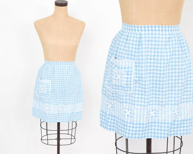 1950s Blue Cotton Apron | 50s Blue Gingham Apron | Cross Stitched | Hostess | Wedding Shower by GlennasVintageShop