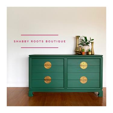 NEW! Vintage Mid Century Modern emerald green chinoiserie Dresser chest Asian inspired credenza- San Francisco by ShabbyRootsBoutique