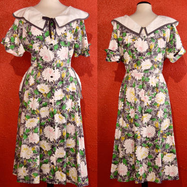 1940s Housedress Cotton Floral Shirtwaist by Kenchester XL by THEGIRLCANTHELPITUSA