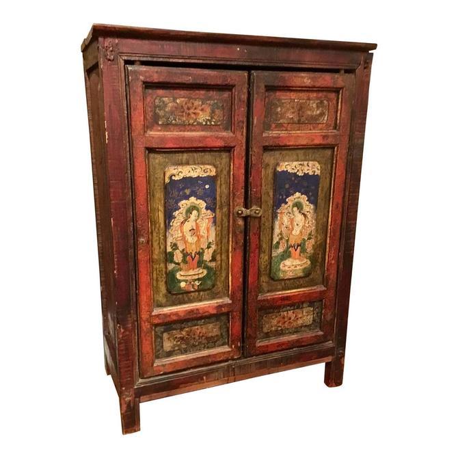 Antique Asian Petite Two Door Painted Tibetan Door Cabinet