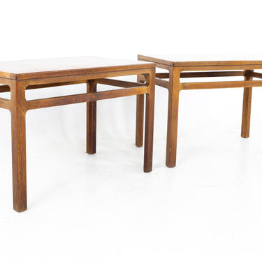 Dunbar Style Mid Century Walnut Side End Tables - A Pair - MCM by ModernHill