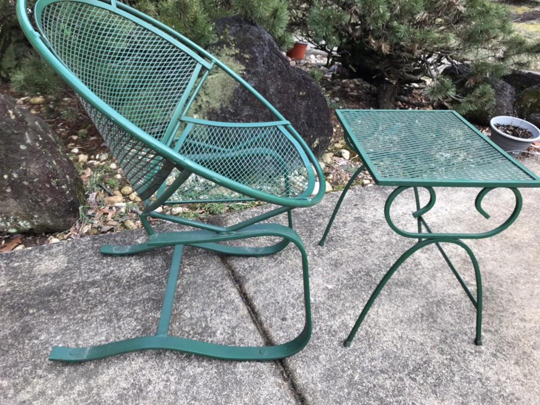 Mid Century Modern Wrough Iron Patio Salterini Chairs By