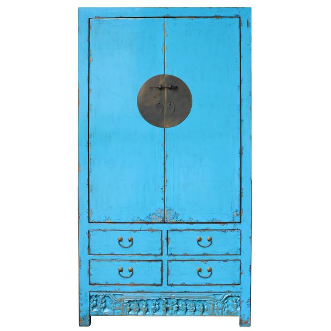 Chinese Distressed Aqua Blue Tall Wedding Armoire Wardrobe TV Cabinet cs4894S